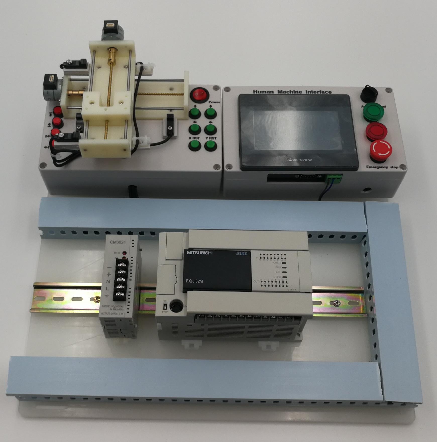 Mitsubishi FX3U Stepper HMI PLC Trainer